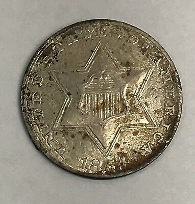 1854 THREE CENT SILVER. COLLECTOR COIN FOR COLLECTION Or Set.