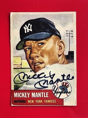 1953 Topps Mickey Mantle Autographed Baseball Card #82 - read description