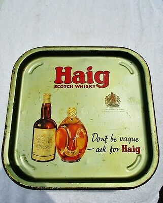"""John HAIG SCOTCH WHISKY: Vintage 13.5"""" Square Beer Breweriana Tray Dimple Bottle"""