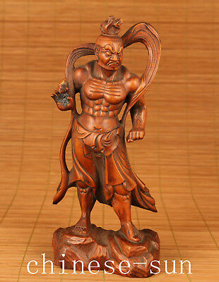 Japan Old Boxwood Handmade Carved Statue buddha holiness King home deocration