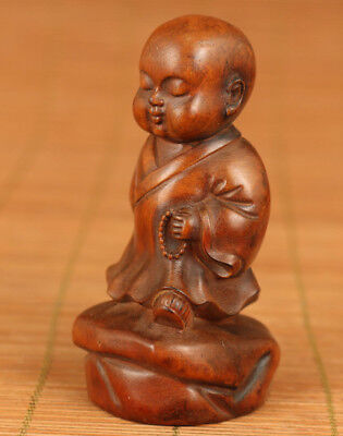 chinese old boxwood hand carving favorite Buddha figure statue home decoration