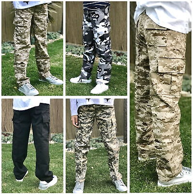 Boys Girls Kids Teen Combat Army Ranger Camping Outdoor Camouflage Cargo Pants