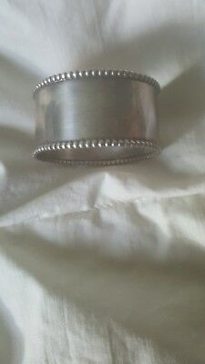 Sterling silver napkin ring, beaded edge, no monogram