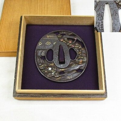 D914: High-class old Japanese sword guard TSUBA of iron with wonderful work