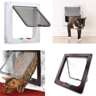 Pet door 4 way Locking Small Medium Large Dog Cat Flap Magnetic Door Frame
