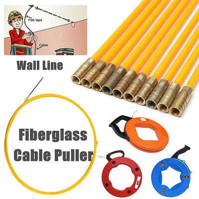 Fiberglass Cable Access Kit Long Reach Puller Rod Wires Hook Ring Extend ToolBox