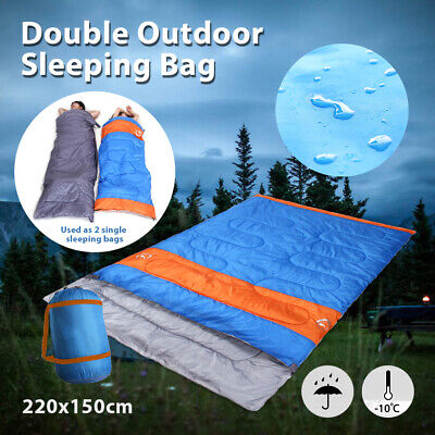 Double Outdoor Camping Sleeping Bag -10° Hiking Thermal Winter Cold 220x150cm AU