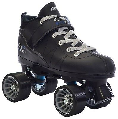 Black Pacer Mach-5 GTX500 Quad Speed Roller Skates w/ 2 Pair of Laces (Gr... New