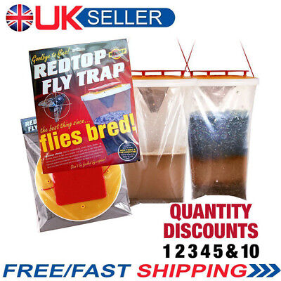 UK Red Drosophila Fly Trap Top Catcher Fly Wasp Insect Bug Killer Lure bag