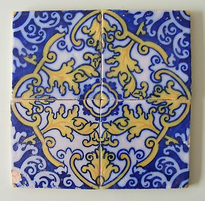 Lovely Genuine Antique Flower Pattern Portuguese tile panel #683