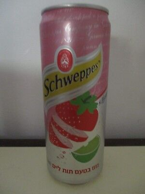 Schweppes Strawberry Lime : a 330 ml  empty sleek  can,  Israel ,2018