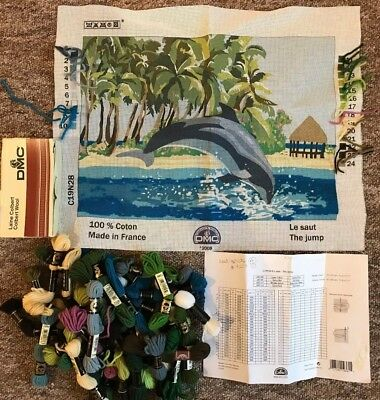 """Tapestry kit - """"The Jump"""" (Dolphin beach picture) - all yarn supplied"""
