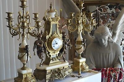 Vintage-Imperial-3-Pcs-Brass Mantel-Clock-with-Pair-of-5-Arm-Candelabras  Italy