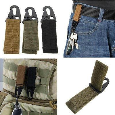Military Army Carabiner Hook Webbing Buckle Nylon Molle Belt Key Ring Keychain