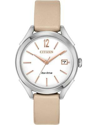 Citizen Eco-Drive Women's FE6140-03A LTR White Dial Leather Strap 34mm Watch