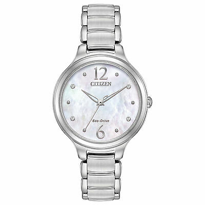 Citizen EM0550-59D Ladies Mother of Pearl Stainless Steel Crystal Watch