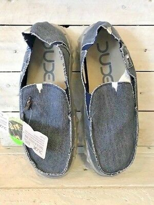 Dude Farty Mens Navy Chocolate Canvas Slip On Sizes 12, 13 And 14