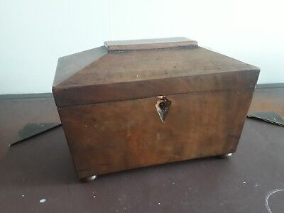 Early Victorian Mahogany Sarcophagus Form Tea Caddy For Restoration