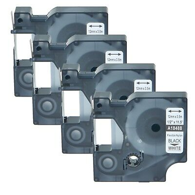 4PK Black on White 18488 Permanent IND Label Tape 12mm for Dymo Rhino 5200 600