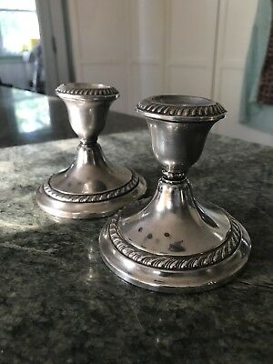 Pair Vintage Gorham Sterling Silver English Candle Stick Holders 667