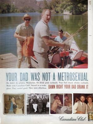"""Canadian Club Print Ad-""""your Dad Was Not A Metrosexual"""" Bar Print Decor Ad"""
