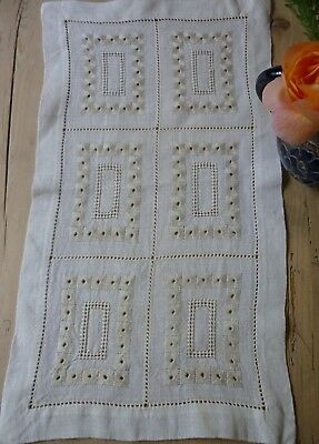 Vintage linen table runner with very fine drawn thread work