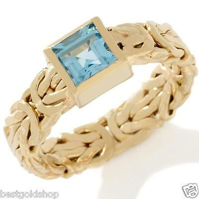 Technibond Square Blue Topaz Byzantine Band Ring 14K Yellow Gold Clad Silver HSN