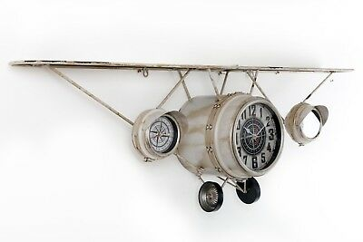 Large Antique Vintage Style White Iron Plane Wall Clock With Shelf