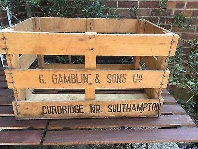 Original Vintage Retro Wooden Vegetable Box Crate Shabby Chic