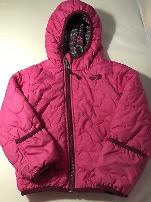 The North Face Girls 2t Pink Quilted Jacket Reversible Hand Covers EUC