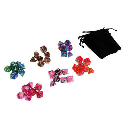 42x/Pack Polyhedral Dice Set w/ Bag D4-D20 for Dungeons & Dragons Board Game