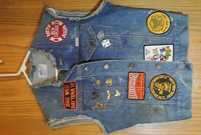 VTG 1980'S BIKER DENIM Vest Motorcycle Club MC Patch wrangler Harley Davidson