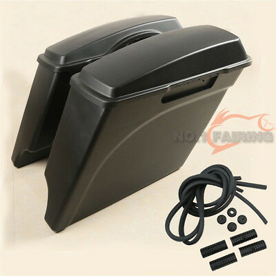 """5"""" Stretched Extended Unpainted Hard Bags Saddlebags Fit for Harley Touring"""