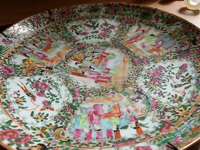 LARGE ANTIQUE CHINESE FAMILLE ROSE HAND PAINTED PLATE CHARGER 34.5cm
