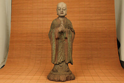 Rare Antique chinese old Wood Hand Carved Big Buddha Statue