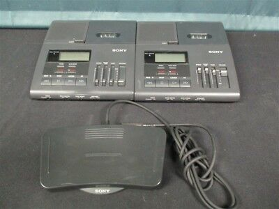 Lot of 2 Sony BM-850 Microcassette Transcribing Systems & Transcriber Foot Pedal