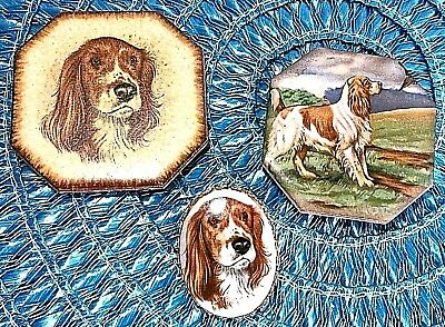 Vintage Pin w 2 English Springer Spaniel Dog Ceramic Tile Refrigerator Magnets