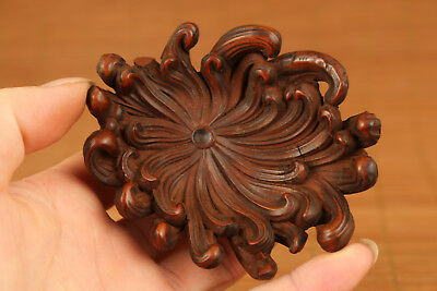 Rare chinese old Boxwood Hand Carved chrysanthemum Statue Netsuke