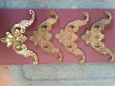 Antique Furniture Parts - Victorian Stamped Brass Corners - Lot of 4