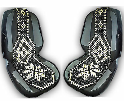 2 x BLACK WOODEN BEAD BEADED CAR TAXI VAN MASSAGE FRONT PAIR SEAT CUSHION COVER