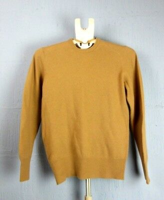 VINTAGE sandy brown PURE VIRGIN WOOL CREW NECK JUMPER SWEATER 90's SMALL j317