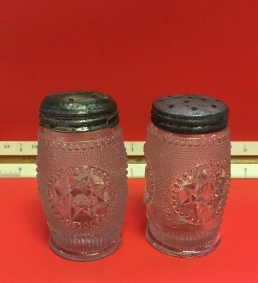 Rm236 Vintage Clear Cut Glass Salt And Pepper Shakers Metal Caps