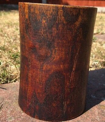 Chinese Wooden Brushpot With Engraved/carved Design Of Mountains And Geisha Girl