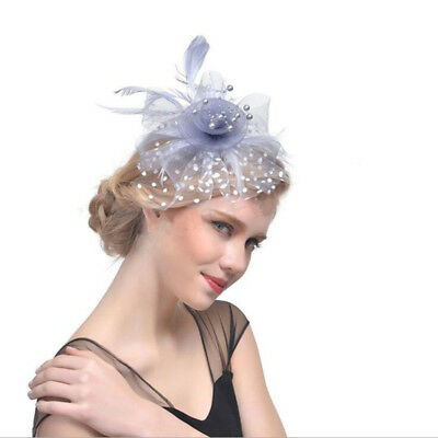 Woman Lady Flower Feather Top Hat Hair Clips Lace Veil Hairpins Headwear