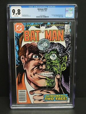 Dc Comics Batman #397 1986 Cgc 9.8 White Pages Two-Face Newsstand Mask Insert