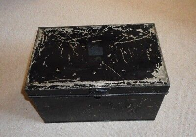 vintage black tin box with side carrying handle
