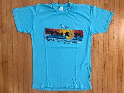 VTG 1980's JAMAICA VACATION SOUVENIR T-SHIRT M 50/50 THIN HAWAII SUNSET RAINBOW