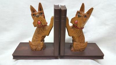 Vintage Hand Carved Terrier Dog Book Ends Art Deco Black Forest Germany