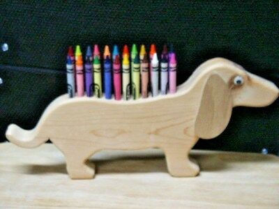 Wooden Dachshund Crayon Holder With Crayola Crayons  New