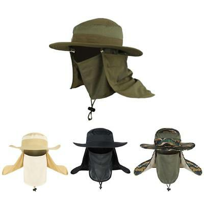 Fishing Hiking Boonie Hunting Snap Hat Brim Ear Neck Cover Sun Flap Cap Outdoor!
